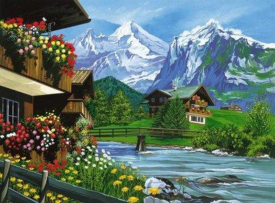 Schilderen op nummer Alpen Landschap
